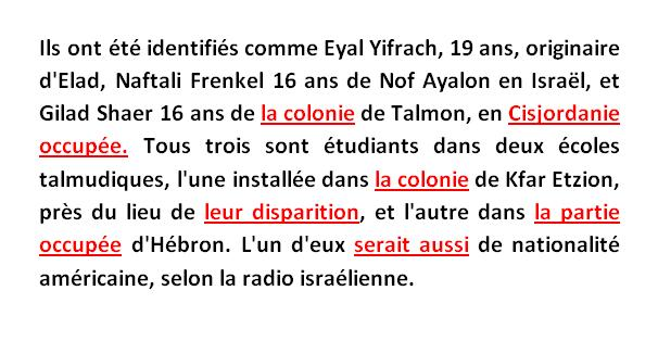France 24 kidnapping 3 adolescents israeliens