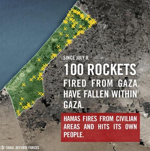 carte roquettes hamas tombees sur gaza
