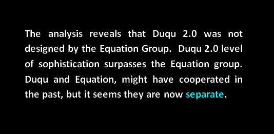 Equation Group and Duqu 2.0 Group now separate