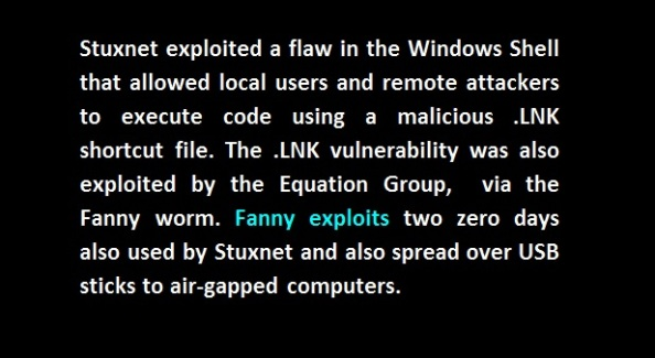 Fanny exploits stuxnet equation group